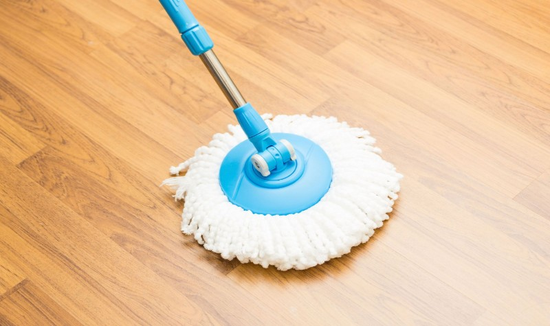 blue and white mop on the floor