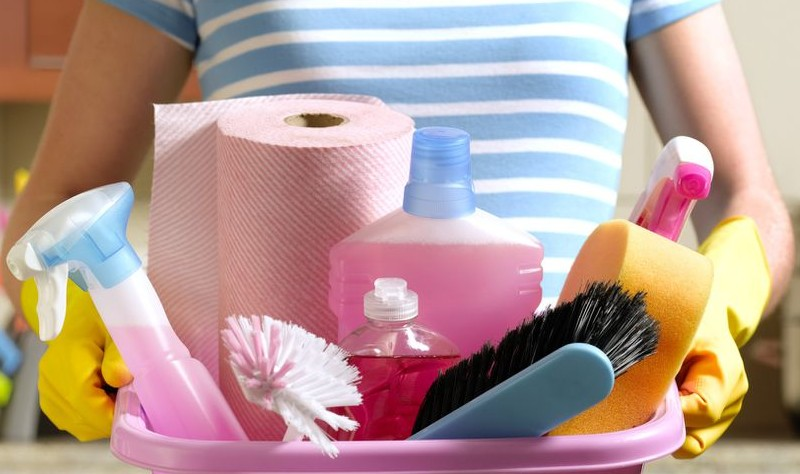 A girl is holding a basket with brushes and sprays
